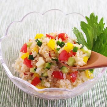 発芽玄米とキヌアのクスクス風サラダ~DHCオリーブチャンネルに連載中~ ̄