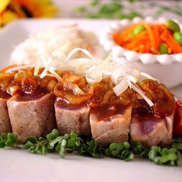 マグロのレアステーキ♪韓国風&にんじんと枝豆のナムル&茗荷と生姜の香りご飯