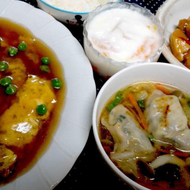 リメイクスープぎょうざと かに玉のアレンジぶた玉で夕食 & 寝る間際のご飯にお腹やられた・・・
