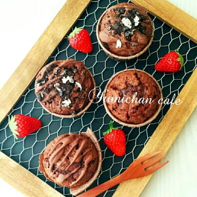 ♡HMで作る♪しっとり濃厚チョコレートマフィンの作り方♡【チョコ組み合わせ自由*おやつ*簡単】