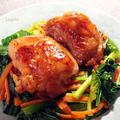 鶏の照り焼き と 小松菜人参ガリバタソテーでカサ増し&免疫力UP♪