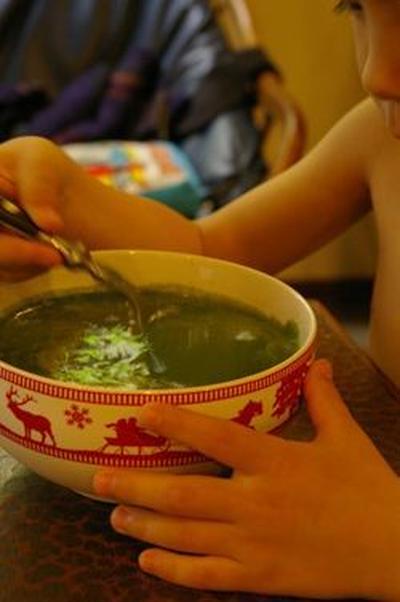 おいしいおいしいグリーンスープ♪グリーンスムージーにさらに果物を入れて食べる。