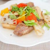 牛肉と蓮根とエリンギのガーリックペッパー炒め