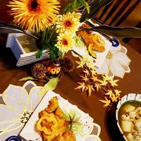 お花と楽しむハロウィンディナー「アジ&サンマのお魚フライ」♪ Fried Fish
