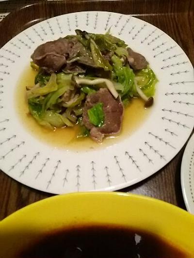 あっさり風味で、しっかり噛む:豚舌&野菜炒め