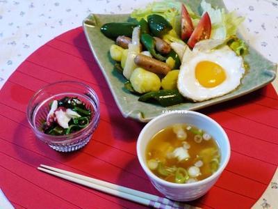 夏野菜でお肉祭り~と、台風接近中!さて親子は無事に!?