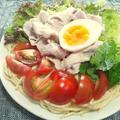 豚肉と野菜の、胡麻ドレ和えパスタ
