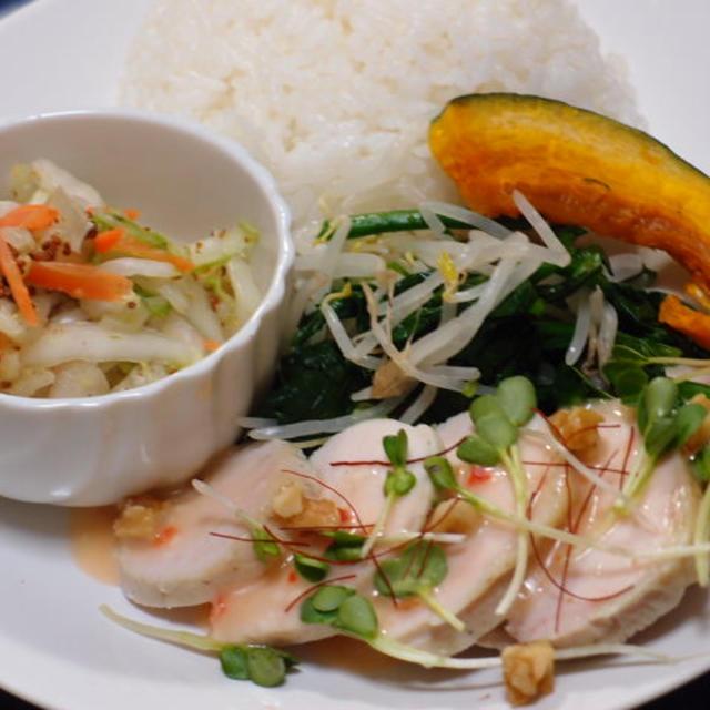 鶏ハム チリマヨソース&野菜色々な晩御飯
