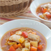 食べるスープ!鶏肉とたっぷり野菜のミネストローネ風
