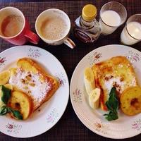 朝にぴったりふんわりフレンチトーストの秘訣と焼き林檎がソースだね♪☆♪☆♪