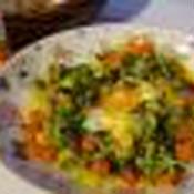 キャベツとミックスベジタブルのナンプラー玉子とじレンジ蒸し