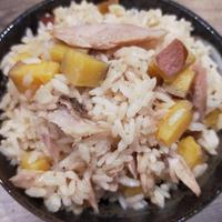 【簡単!】牡蠣だし醤油で超簡単!さつま芋とツナの炊き込みご飯