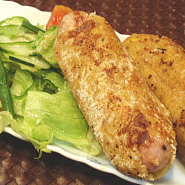 ジャンボソーセージのポテトコロッケ包み焼き(レシピ付)