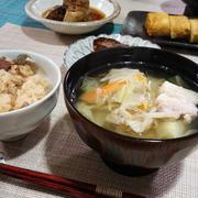 【2017年10月23日の晩ごはん】*豚バラ肉とカット野菜の生姜塩スープ
