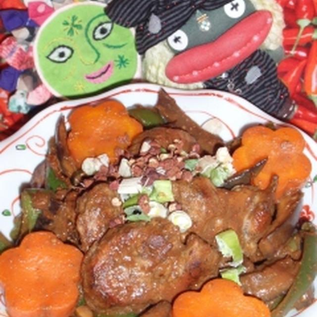 豚肉と茄子の花椒風味中華味噌炒め&ほうれん草とアスパラと卵の中華風サラダ(お家カフェ)