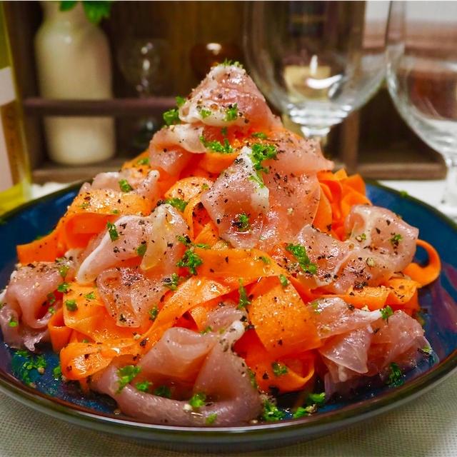 【レシピ】リボンにんじんマリネと生ハムのサラダ