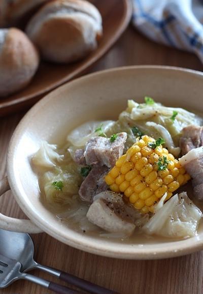 塩豚とトウモロコシと高原キャベツで夏のポトフ
