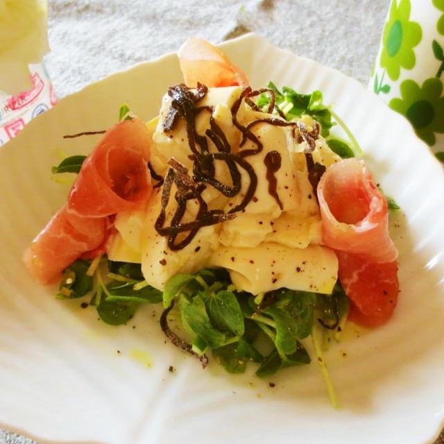 ヘルシー☆塩昆布と豆腐でオリーブオイルサラダ