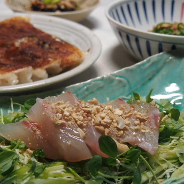 時間が無くて・・・パパっとご飯  中華風鯛のお刺身サラダ  大阪王将の餃子  ひじきの炊いたん