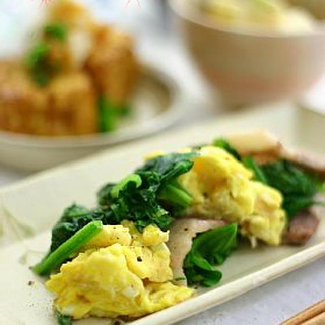 ほうれん草・豚肉・卵の炒め物
