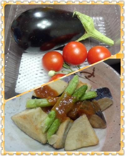 揚げ米茄子&アスパラガスの味噌ダレかけ(簡易レシピ付)