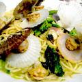 【レシピ】春パスタ! ホタテ稚貝と菜の花のスープスパゲティ(^^♪ by ☆s4☆さん