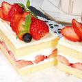 卵1個で作るいちごのスクエアショートケーキ【食べきりサイズ♪】