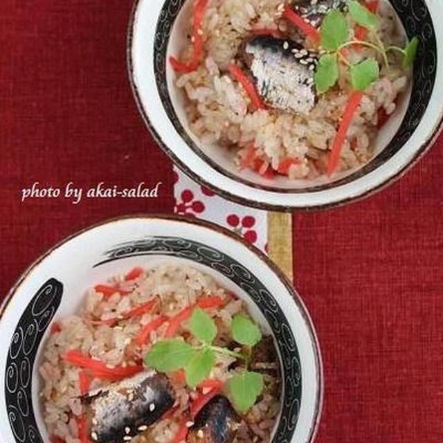 イワシ缶と紅生姜の炊き込みご飯