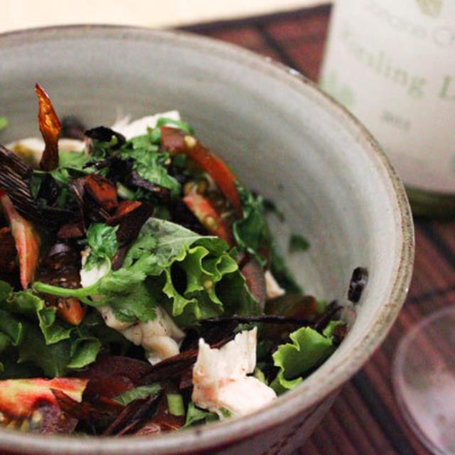 夏の野菜たっぷり盛って、熱々のネギ油をジュ〜〜っとかけて、元気になるサラダ