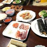 手巻き寿司。しっぽくうどん