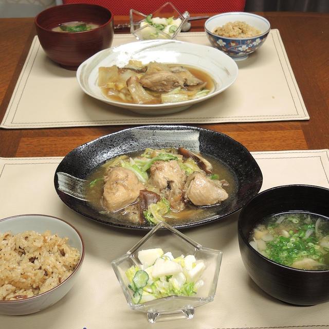鶏ぶつ切りと白菜の旨煮