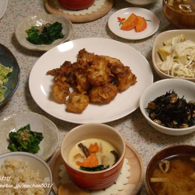 塩麹から揚げ と、飾り茶碗蒸し。