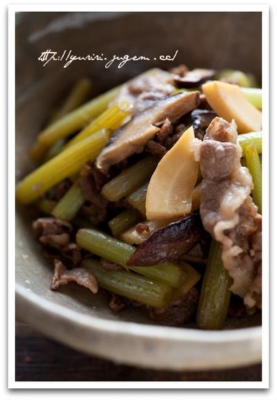 蕗(ふき)と牛肉の炒め煮