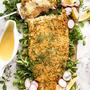 鮭 のパン粉グリル、レモンクリームソース添えとベストパートナー