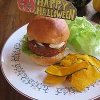 ハロウィンにも☆ かぼちゃコロッケ&きのこバーガー♪