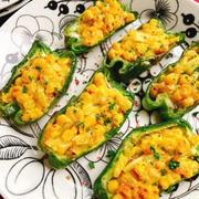 ピーマンのマヨコーン焼き(動画レシピ)/Baked Bell peppers with Corn mayonnaise.