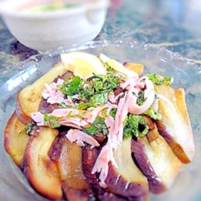 簡単☆レンジ茄子の大葉ポン酢サラダ