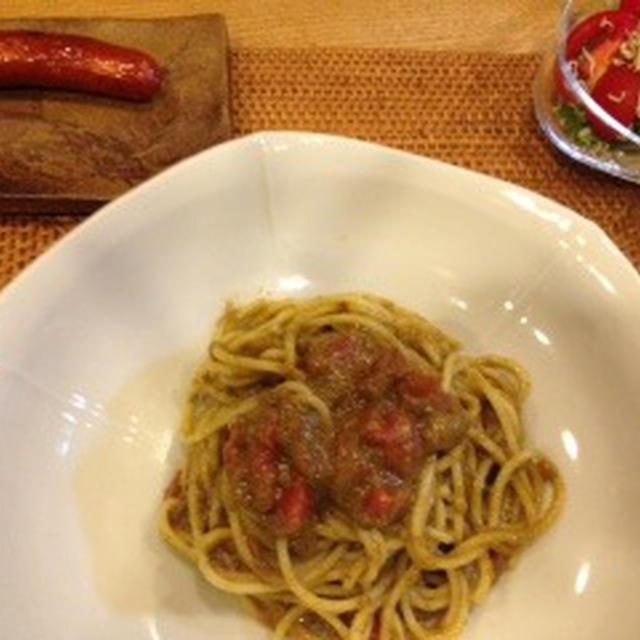 ジェノベーゼのパスタと濃い夕飯。