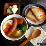 落とし卵の和風ポトフとパンで朝ごはん*連載記事を更新しました