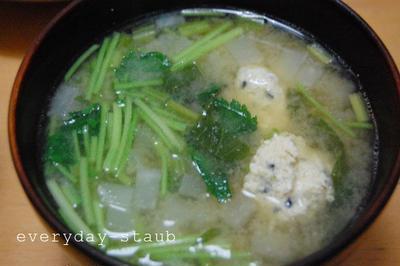 staubレシピ~鶏ツクネと三つ葉と蕪のスープ~