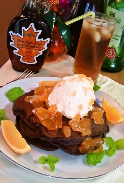 ココア&オレンジのパンケーキ ❥ バニラアイスクリーム トッピング