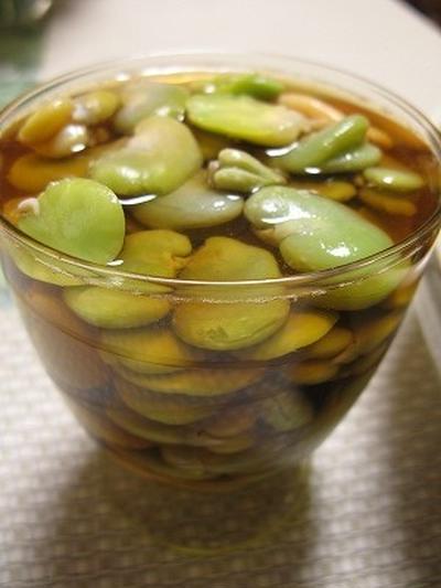 ソラマメの出汁醤油漬け(レシピ) 春キャベツときゅうりの漬け 新生姜の甘酢漬け(レシピ)