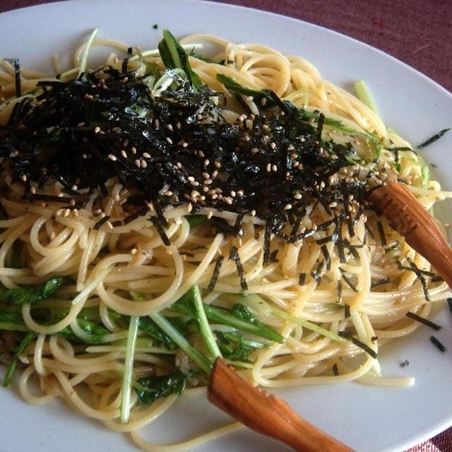 ホタテと水菜のスパゲッティ