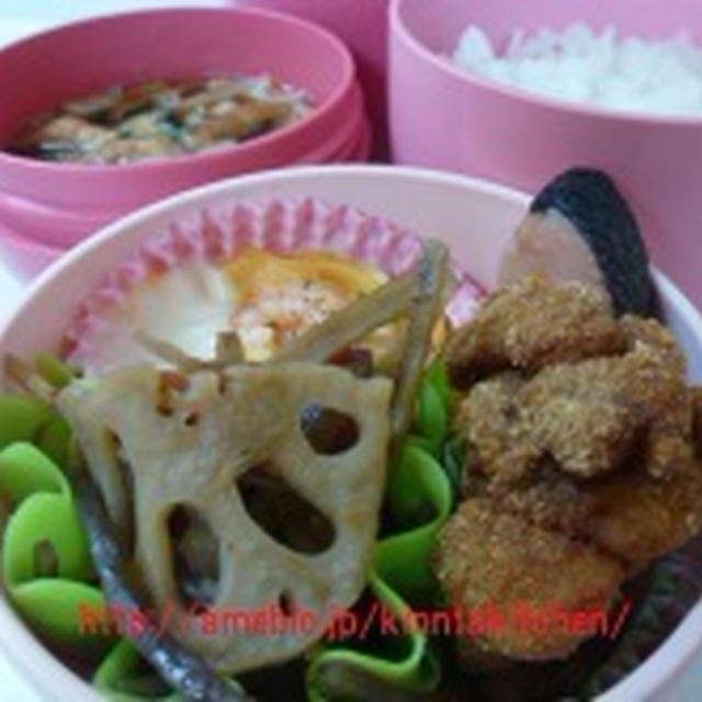 唐揚げ(昭和のレンジでチンする唐揚げ粉)のお弁当と東京土産鳩サブレー