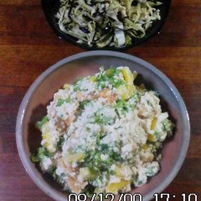 青菜とパプリカの白和え&塩昆布キャベツ