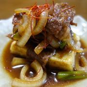 一人夕食は簡単に限る! 揚げ出し豆腐のすき焼き風