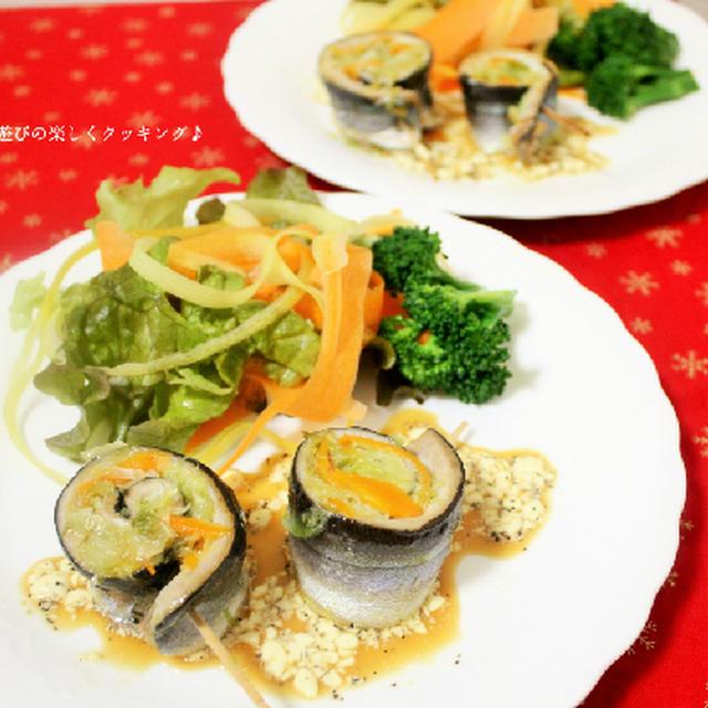 マヨポンで頂く♪野菜も食べるサンマのクルクル焼き