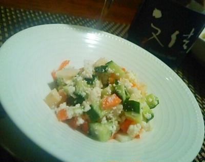自家製柚子カッテージチーズで筍キューブサラダ、筍と浅蜊、蚕豆のリゾットで日本酒を