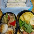 文化祭や運動会やお花見に<3色サンドイッチと彩り野菜のお弁当♪>
