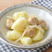 【節約おかず】手軽でおいしい♡肉だんごとじゃがいもの白だし煮